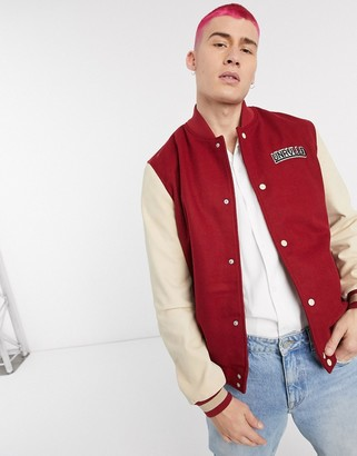Asos Unrvlld Supply ASOS Unrvlld Spply leather varsity bomber jacket in red