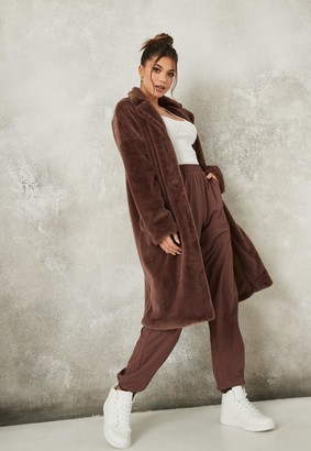 Missguided Brown Oversized Faux Fur Coat
