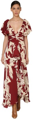 Johanna Ortiz Printed Crepe De Chine Dress W/ Ruffles