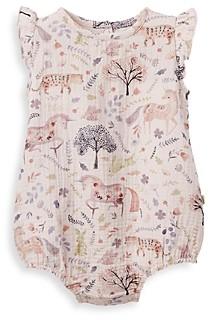 Elegant Baby Girls' Floral Print Organic Cotton Muslin Bubble Romper - Baby