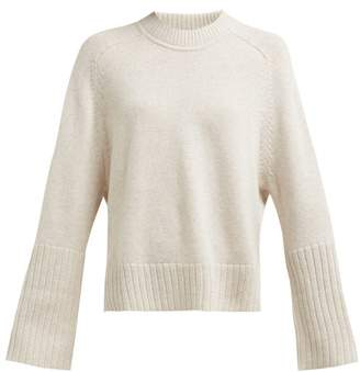 Allude Ribbed Cuff Round Neck Cashmere Sweater - Womens - Beige