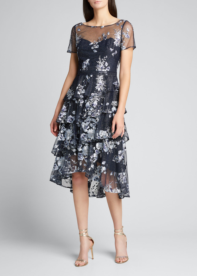 Marchesa Notte Embroidered Glitter Tulle Asymmetrical Ruffle Tiered Dress