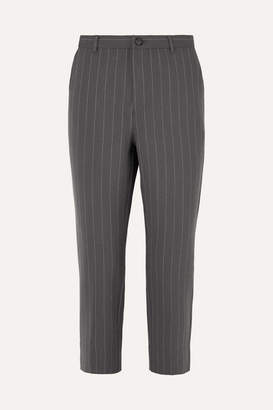 Ganni Pinstriped Stretch-cady Straight-leg Pants - Light gray