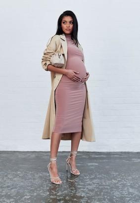 Missguided Pink Slinky High Neck Maternity Midi Dress