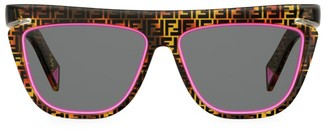Fendi FF 55MM Square Logo & Neon Sunglasses