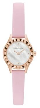 BCBGMAXAZRIA Ladies Round Pink Genuine Leather Strap Watch, 24mm