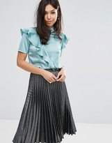Fashion Union High Neck Top With Frill In Satin