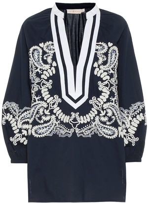Tory Burch Embroidered cotton poplin tunic