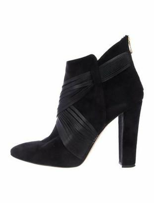 Oscar de la Renta Suede Ankle Boots Black