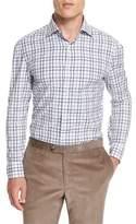 Isaia Windowpane-Check Long-Sleeve Sport Shirt, Blue
