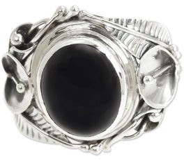 Novica Handmade Onyx Nest of Lilies Flower Sterling Silver Ring