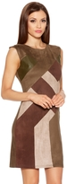 Quiz Khaki And Brown Faux Suede Dress