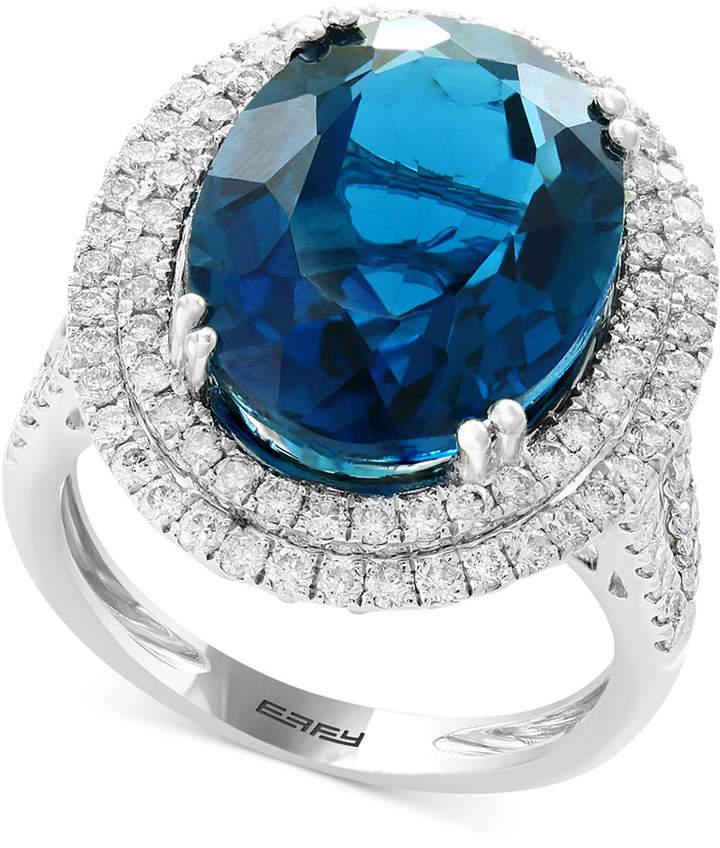 Effy London Blue Topaz (11-9/10 ct. t.w.) & Diamond (1 ct. t.w.) Ring in 14k White Gold