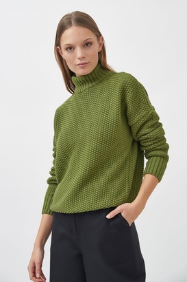 Mila Vert - Knitted Rice Cubes Pullover Green - XS/S