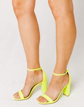 Wild Diva Neon Yellow Womens High Heeled Sandals