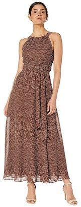 Adrianna Papell Darling Dot Halter Maxi Dress (Brown/Ivory) Women's Dress