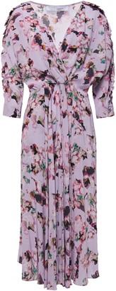 IRO Liky Gathered Floral-print Crepe De Chine Midi Dress