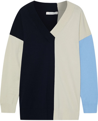 Chinti and Parker Color-block Cotton-blend Sweater