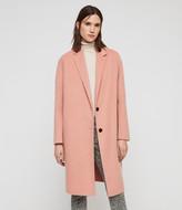 AllSaints Women's Wool Traditional Anya Coat, Pink, Size: S