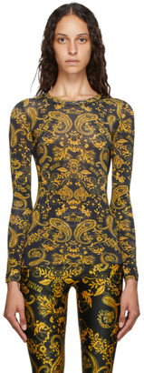 Versace Black and Gold Paisley Loop T-Shirt