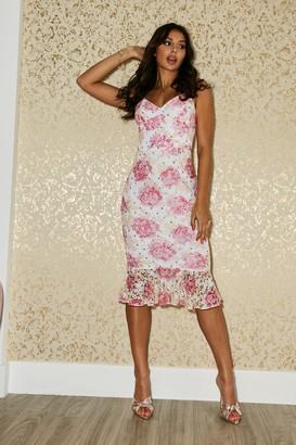 Paper Dolls Hatton Floral-Print Lace Frill Midi Dress