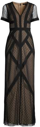 BCBGMAXAZRIA Cap-Sleeve Geometric Gown