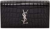 Saint Laurent Black Croc-Embossed Monogram Kate Clutch