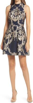 Chi Chi London Jacquard Fit & Flare Cocktail Dress