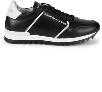 John Galliano Logo Leather Sneakers