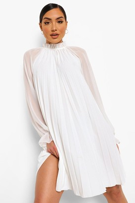boohoo Pleated High Neck Swing Dress