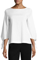 Lafayette 148 New York Elaine Tie-Sleeve Stretch-Cotton Blouse, White, Plus Size