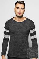 Boohoo Space Knit Jumper With Sports Stripes