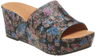 Gentle Souls Forella Floral Leather Wedge Sandal
