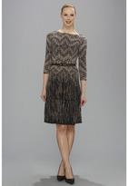 Anne Klein Fairisle Jersey Swing Dress (Camel Multi) - Apparel