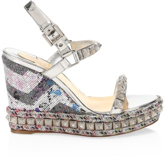 Christian Louboutin Pira Ryad Studded Sequin Metallic Platform Wedge Sandals