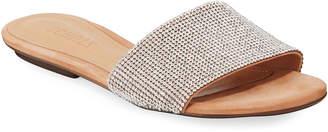 Schutz Queren Embellished Flat Slide Sandals