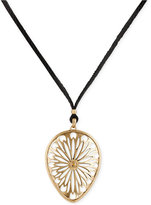 Lucky Brand Gold-Tone Leather Cord Openwork Pendant Necklace