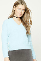 Forever 21 FOREVER 21+ Fuzzy Knit V-Neck Sweater