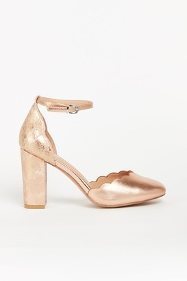 Wallis **WIDE FIT Metallic Pink Scallop Shoe