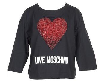 Love Moschino Black Cotton Women's Long Sleeve T-Shirt w/Crystals Heart