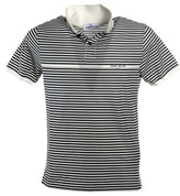 Stone Island Striped Logo Print Polo Shirt