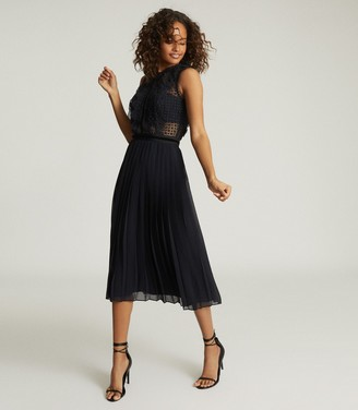 Reiss Tenley - Lace Detailed Midi Dress in Navy
