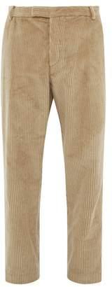 BEIGE Deveaux - Cotton Corduroy Tapered Fit Trousers - Mens