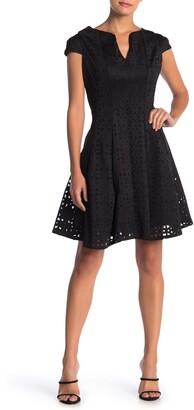 Julia Jordan Lasercut Cap Sleeve Dress