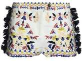 Antik Batik Tasseled Embroidered Cotton-Piqué Shorts