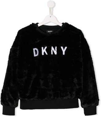 DKNY Logo Fur Sweatshirt