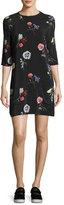 Equipment Aubrey Floral-Print Silk 3/4-Sleeve Shift Dress, Black