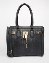 Aldo Faux Snake Tote Bag With Lock Detail