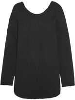 Marni Open-back Grosgrain-trimmed Ribbed Wool Sweater - Black