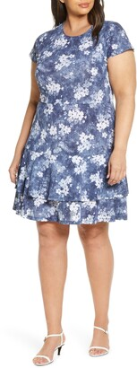 MICHAEL Michael Kors Bleached Floral Fit & Flare Dress
